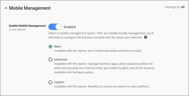 Quản lý thiết bị Android mà không cần ứng dụng Google Apps Device Policy