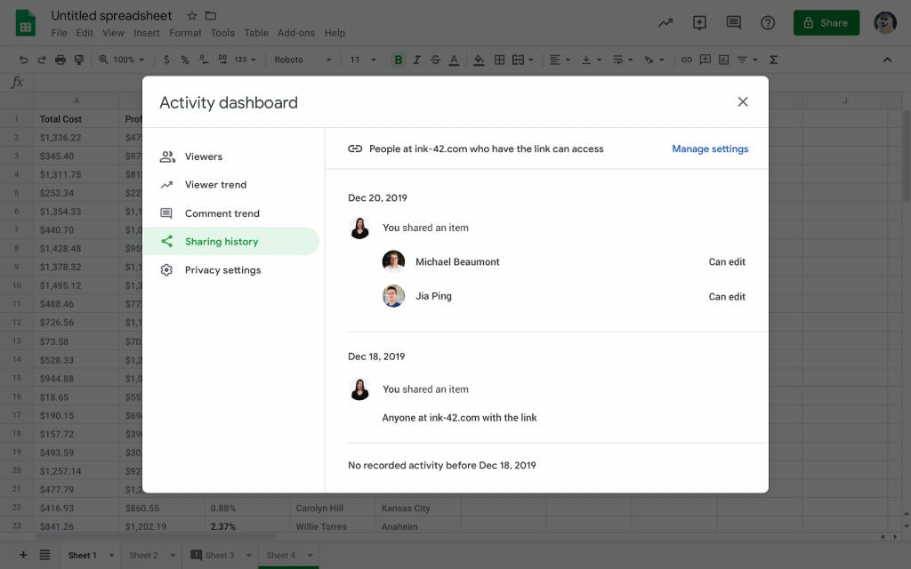 Hiển thị lịch sử xem tài liệu trong Google Docs, Sheets, Slides với Activity dashboard