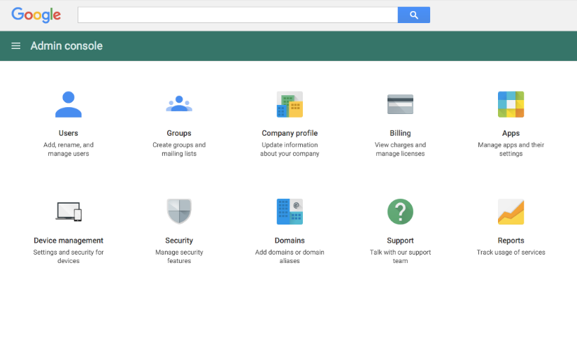 giao diện set up g suite