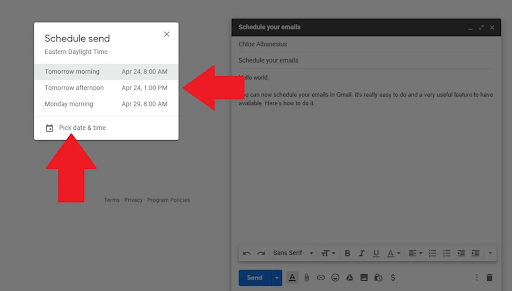 hẹn giờ gửi thư trong gmail