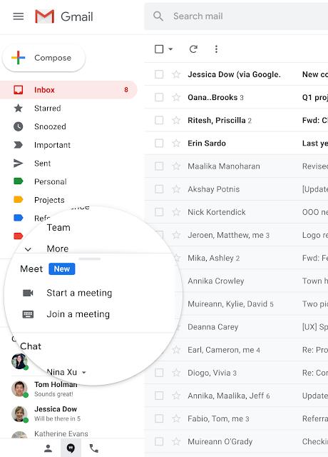 Bắt đầu hoặc tham gia cuộc họp video Google Meet trực tiếp từ Gmail
