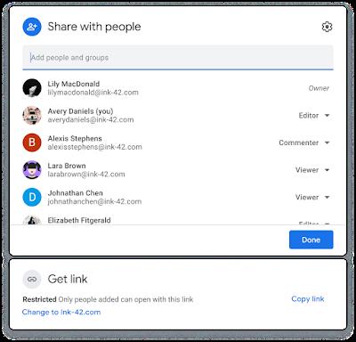 Hộp thoại chia sẻ mới cho Google Drive, Docs, Sheets, Slides và Forms