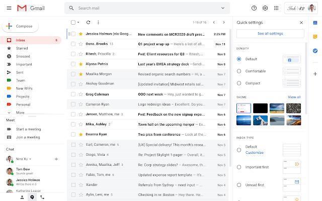 Cài đặt nhanh mới giúp bạn tối ưu hóa bố cục Gmail của mình