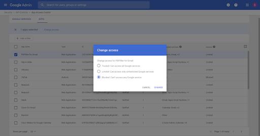 Chặn các ứng dụng truy cập vào dữ liệu G Suite bằng kiểm soát truy cập ứng dụng