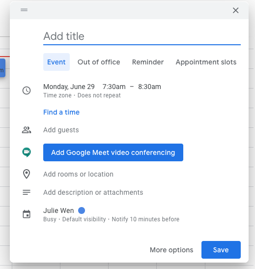 Nâng cấp tính năng tạo lịch của Google Calendar trên nền tảng web