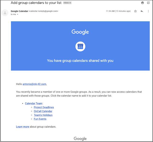 tự động chia sẻ các lịch hẹn trên Calendar khi tham gia một Google Group