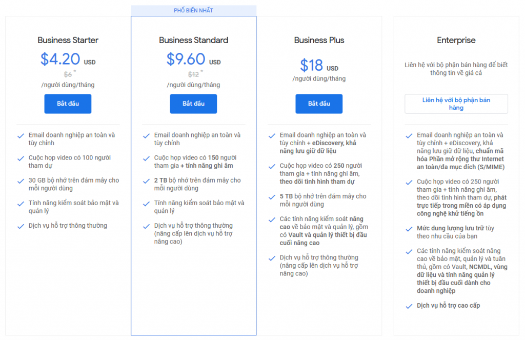 google workspace price list