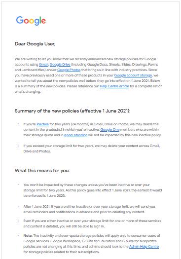 Thay đổi lưu trữ Google Workspace