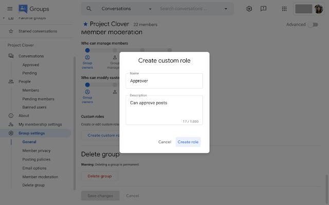 Custom roles in Google Groups mới