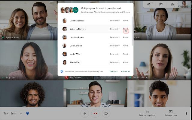 Google Meet cho phép chấp nhận người dùng tham gia hàng loạt