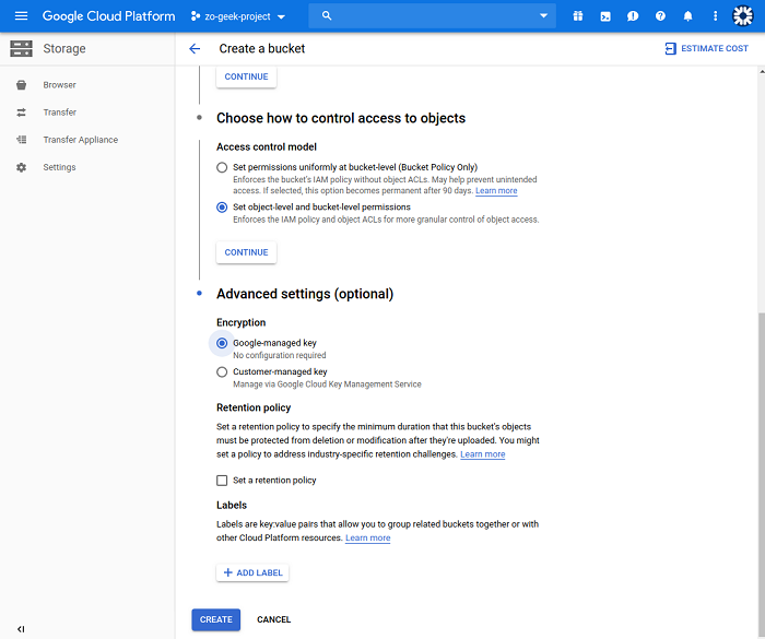 gcp create bucket manage lifecycle