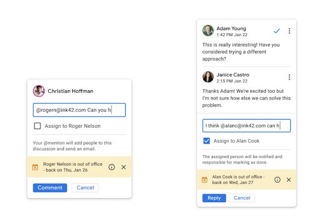 Google Docs hiển thị trạng thái vắng mặt khi đề cập người dùng trong phần nhận xét