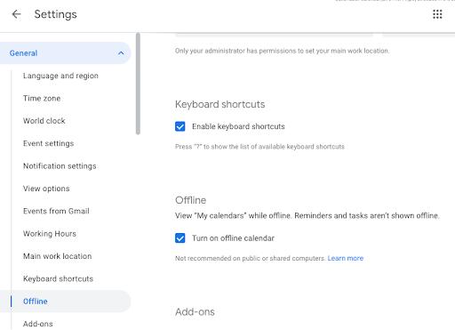 Cho phép sử dụng Google Calendar từ máy tính của bạn kể cả khi Offline