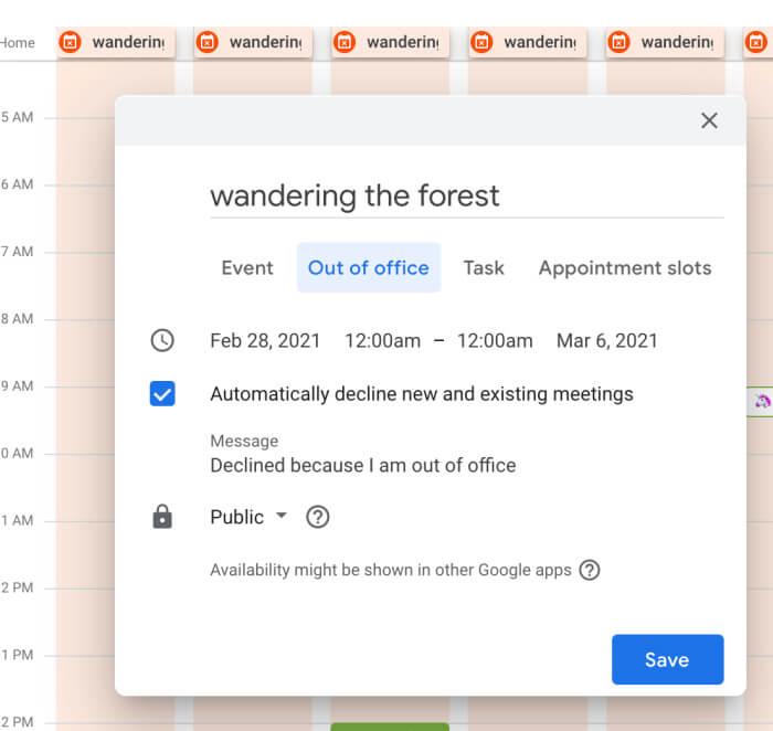 tính năng thông báo vắng mặt google calendar